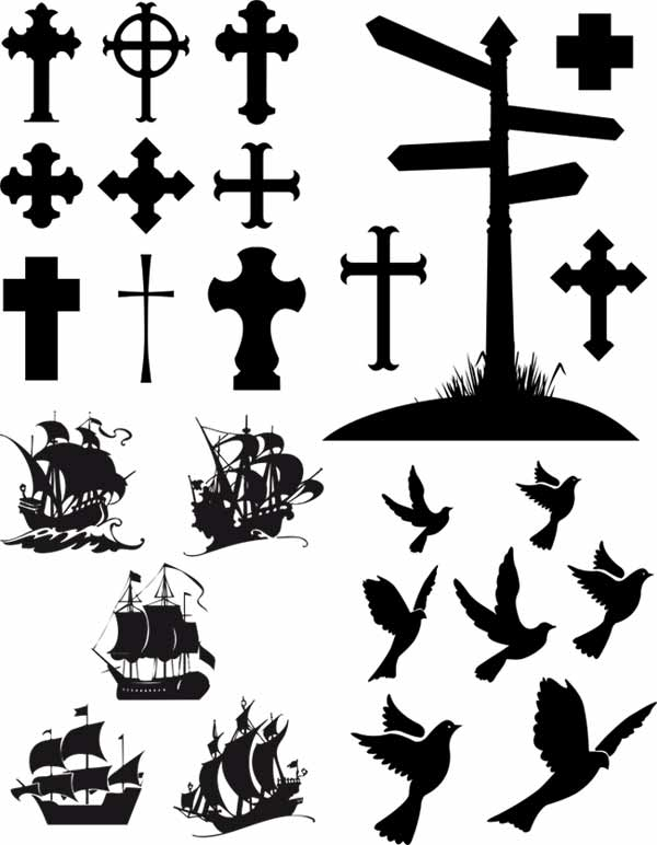 Christian Cross Silhouette Free Vector