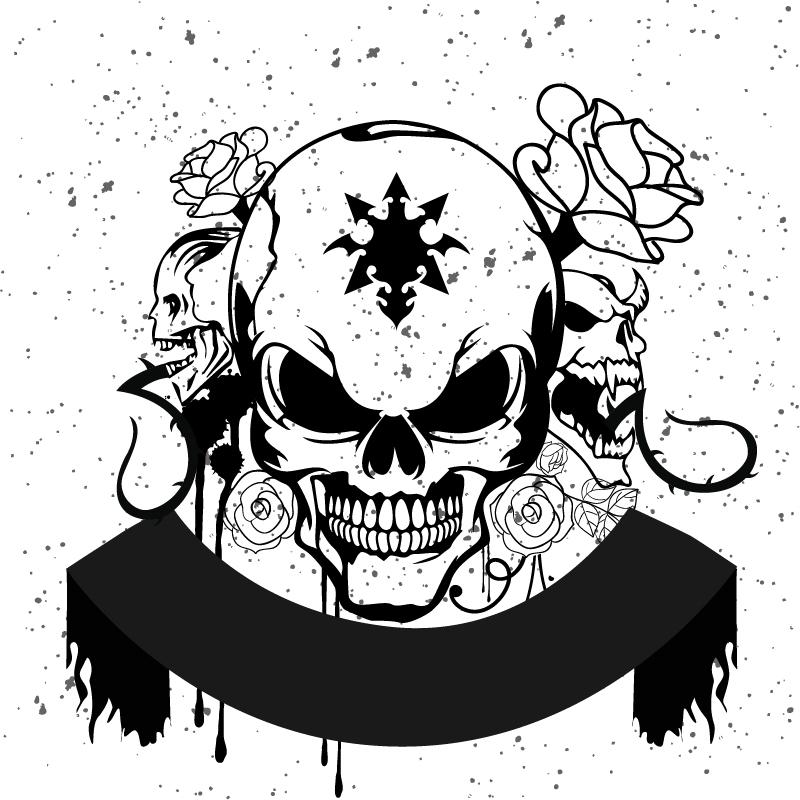 Horror Skull Grunge Style Free Vector