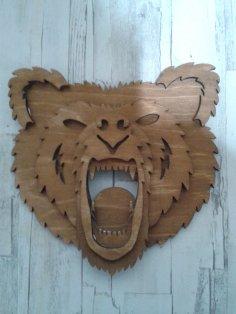 Bear Head 3D Laser Cut Free Vector