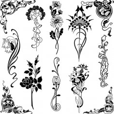 Set of Floral Designs Free Vector