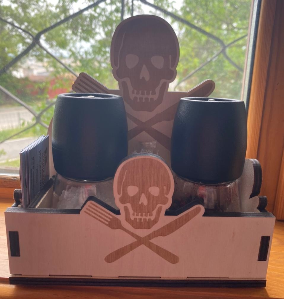 Laser Cut Pirate Napkin Holder With Salt And Pepper Shakers Free Vector