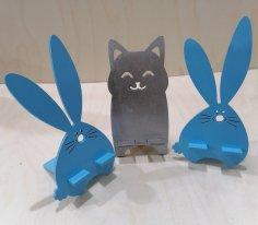 Laser Cut Cute Cartoon Animals Desk Cellphone Holders Free Vector
