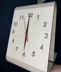 Laser Cut Creative Wooden Table Clock Free Vector