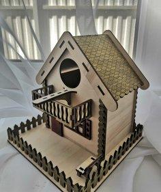 Laser Cut Wooden Unique Decorative Bird House Pet Nest Free Vector
