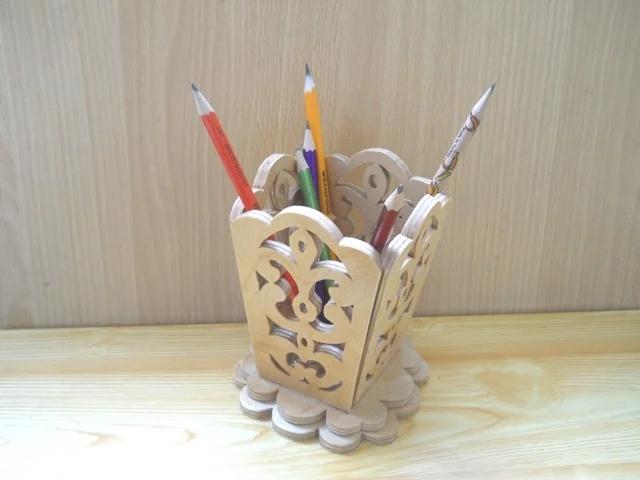 Laser Cut Wooden Decorative Pencil Holder Free Vector