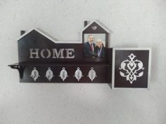 Laser Cut Key Hanger With Photo Frame Free Vector