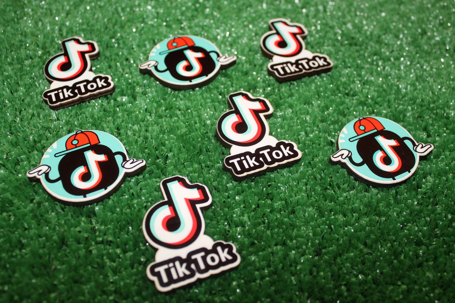 Laser Engraved Wooden Magnets Tik Tok Icons Free Vector