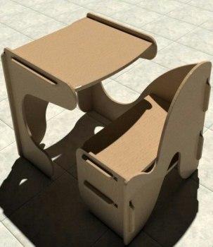 Kids Desk With Chair Study Desk Laser Cut CNC Router Plans Free Vector