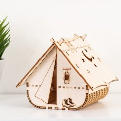 Laser Cut Wooden Tent Shape Night Light Lamp Free Vector