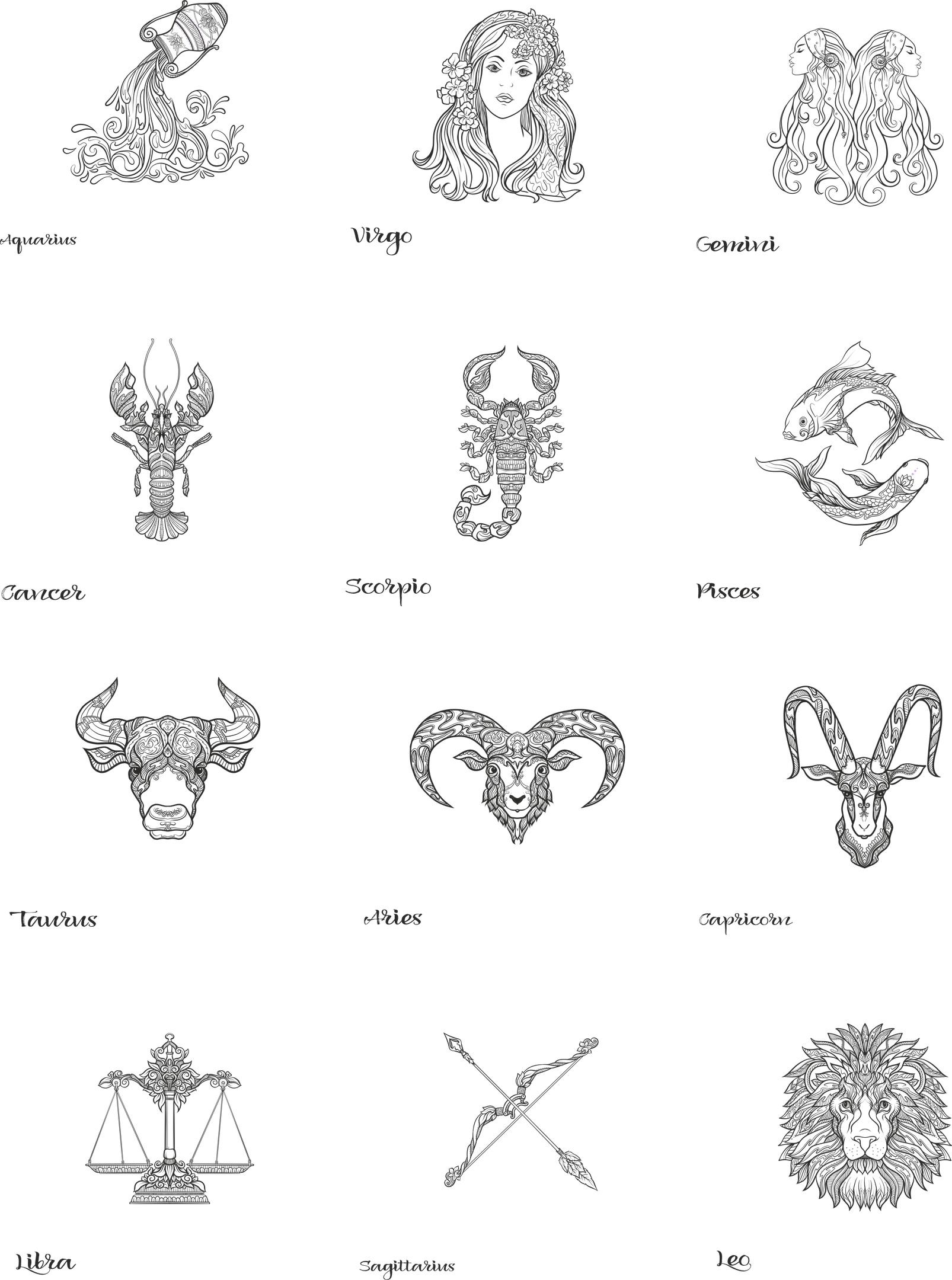 Zodiac Set Free Vector