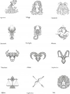 Zodiac Set Free Vector
