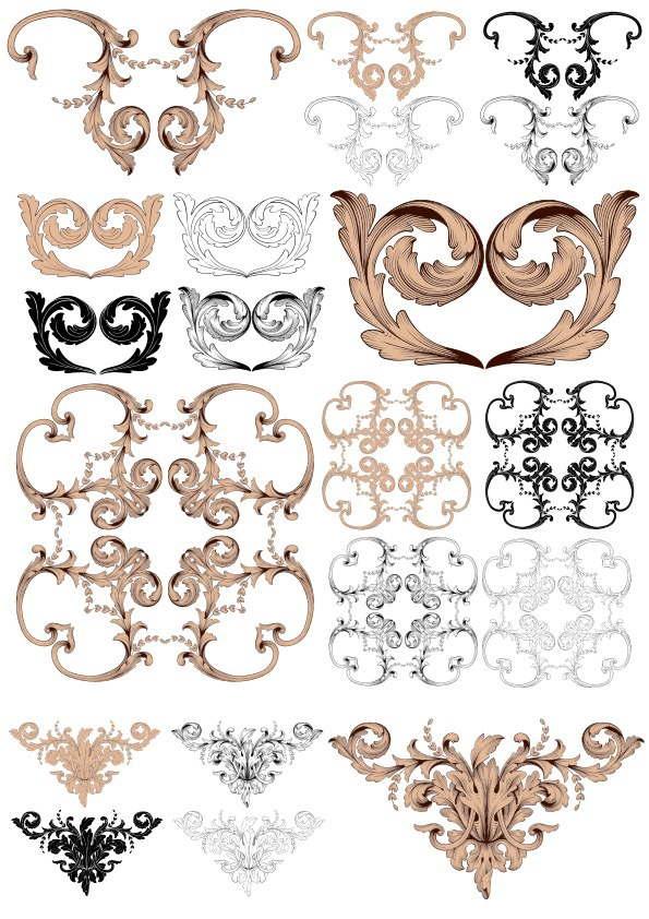 Vintage Baroque Ornaments Free Vector