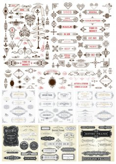 Decor Elements Mega Set Free Vector