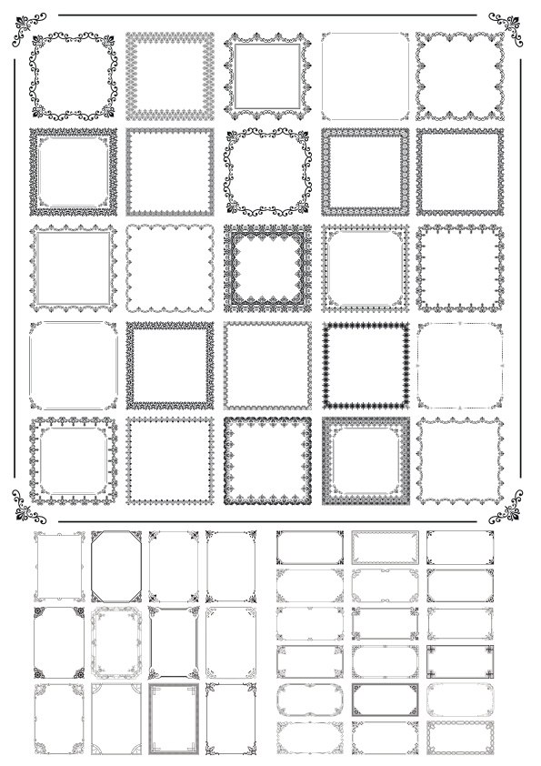 Fancy Frame Decor Set Free Vector