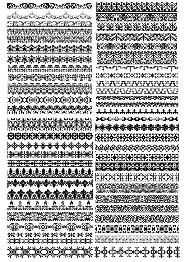Traditional Ornamental Borders Set Free Vector