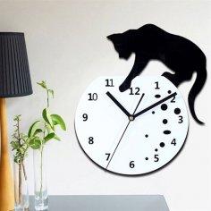 Naughty Cat Wall Clock Laser Cut Free Vector
