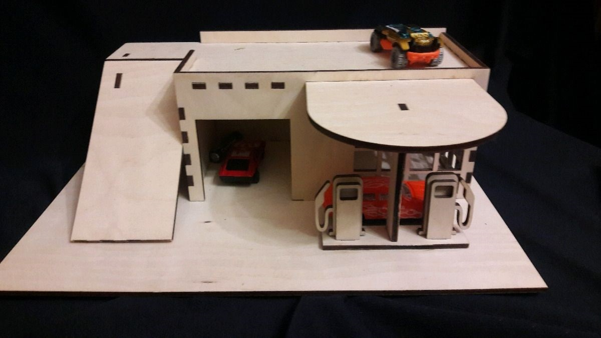 Laser Cut Toy Car Parking Gas Station 4mm Free Vector