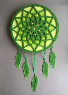 Laser Cut Dreamcatcher With Feathers DXF File