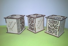 Laser Cut Wood Pen Holder DXF File