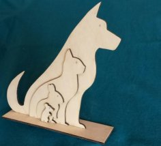 Laser Cut Animal Silhouette Dog Cat Rabbit Mouse SVG File