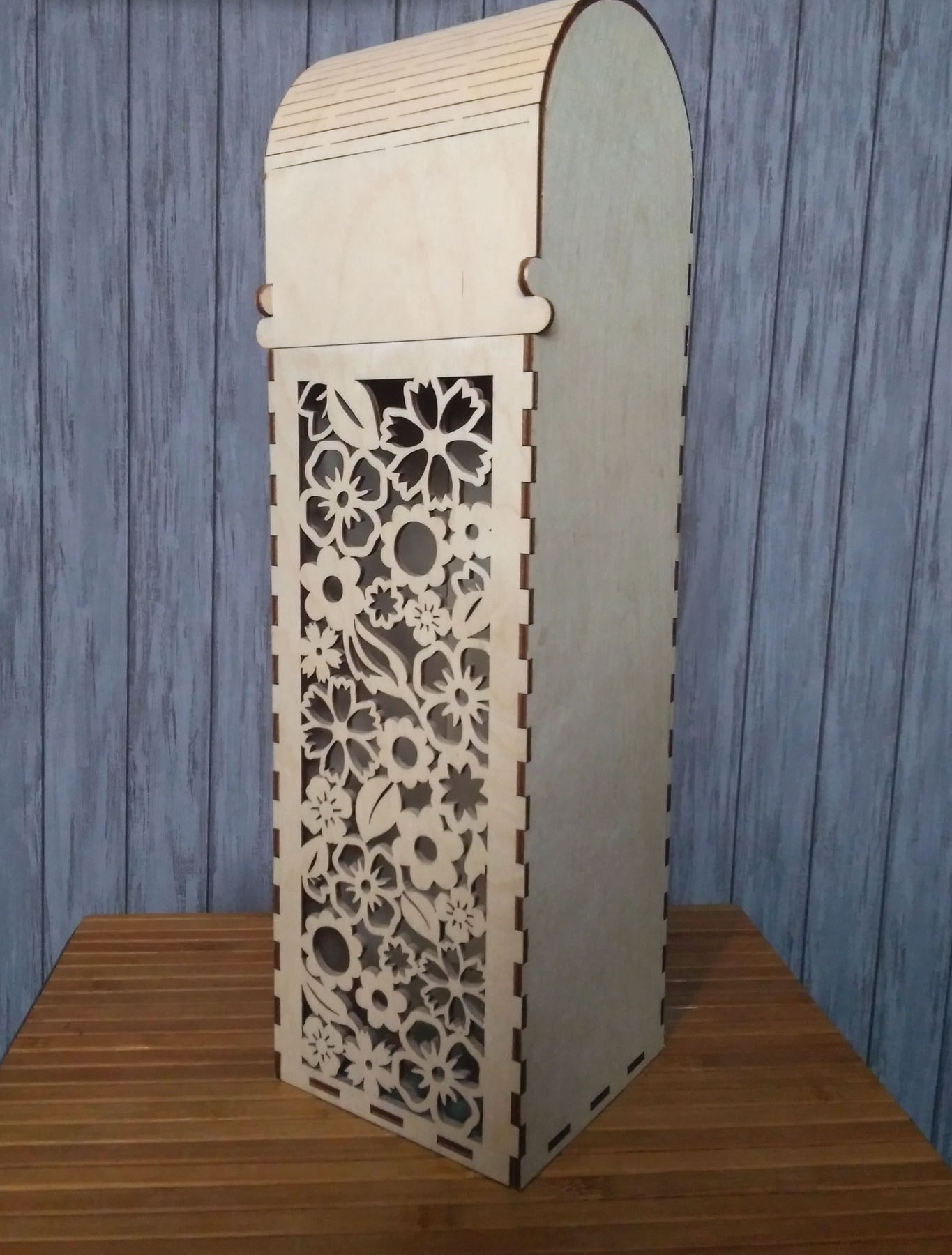 Laser Cut One Bottle Wooden Wine Box With Hinged Lid Gift Box Free Vector