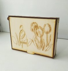 Laser Cut Tulip Engraved International Womens Day Gift Box Free Vector