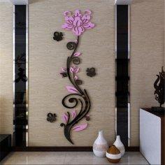 Laser Cut Rose Flower 3D Acrylic Wall Decor Free Vector