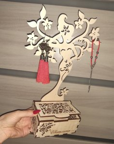 Laser Cut Girl Jewelry Stand Free Vector