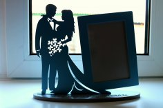 Laser Cut Frame for Young Couple CNC Template Free Vector