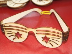 Laser Cut Party Sunglasses Plywood Free Vector