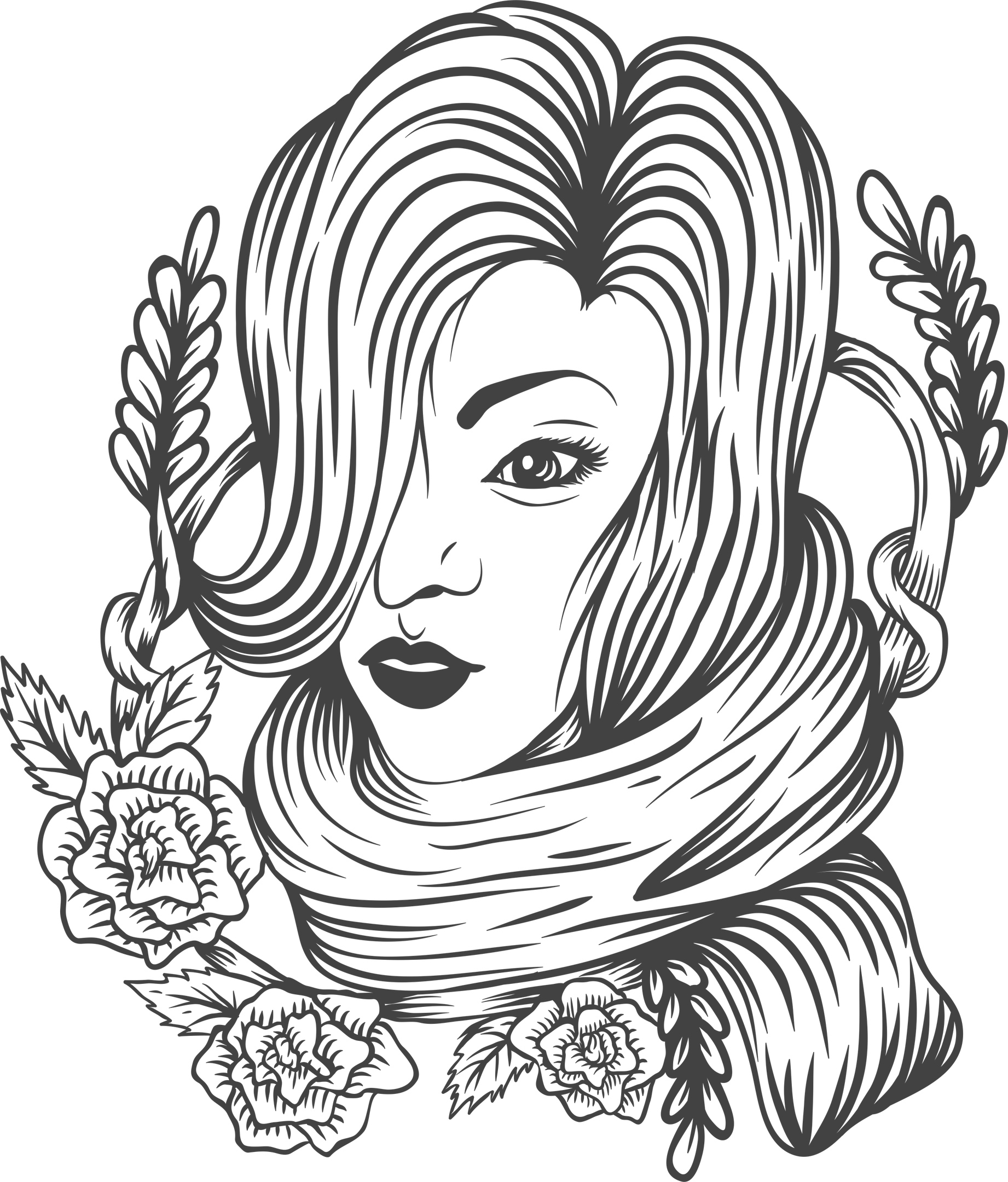 Woman Flower Decor Free Vector