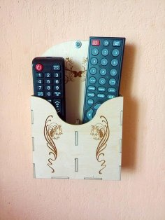 Laser Cut Wall Mounted Remote Control Holder Free Vector