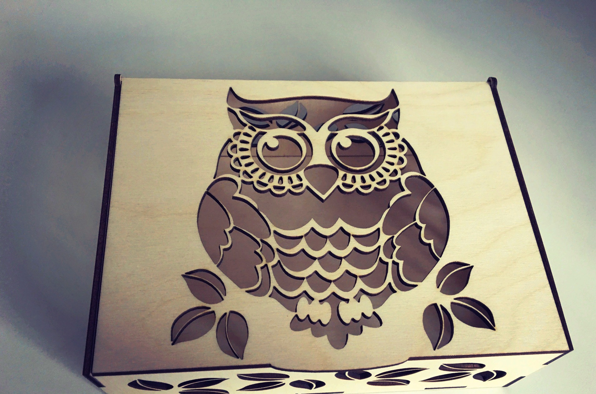 Laser Cut Box with Lid Template Free Vector