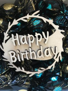 Laser Cut Decorative Happy Birthday Topper Free Vector
