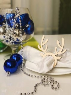 Laser Cut Napkin Ring Reindeer Horns Template Free Vector