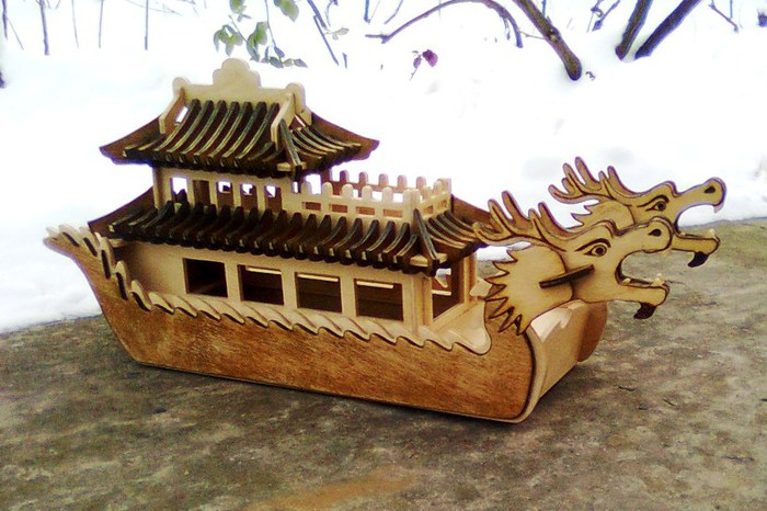 Laser Cut Dragon Boat Template Free Vector