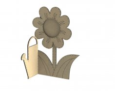 Laser Cut Photo Frame Watering Can With Flower Free Vector