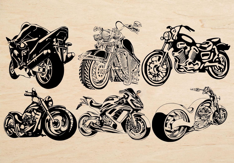 Laser Cut Engrave Motorbike Theme Decor Free Vector