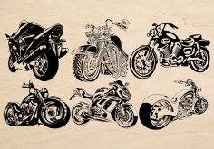 Laser Cut Engrave Motorbike Theme Decor Free Vector