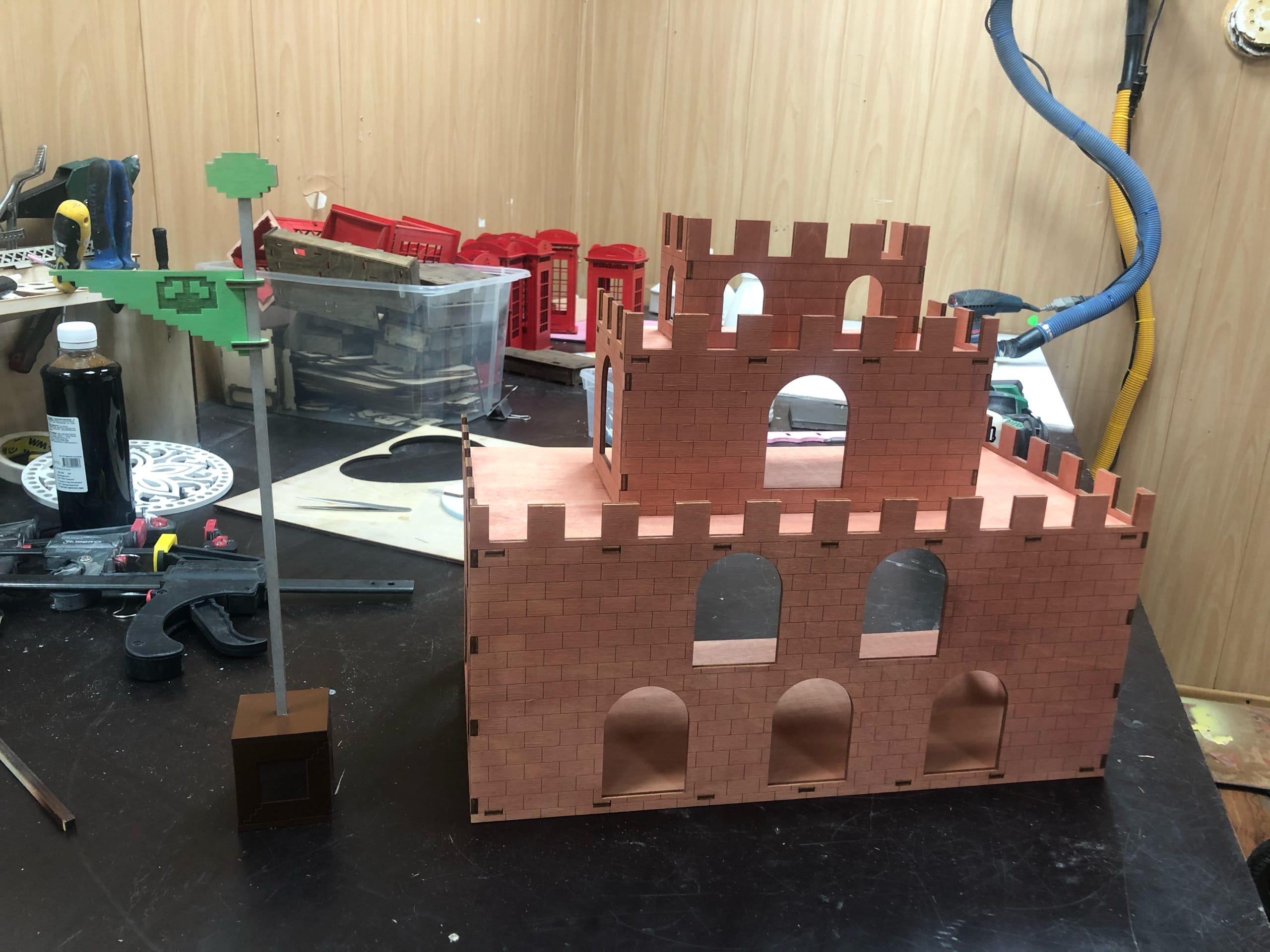 Laser Cut Super Mario Wooden Princess Castle Free Vector