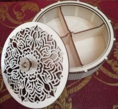 Laser Cut Plywood Round Box Basket With Compartments Free Vector