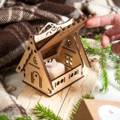 Laser Cut Christmas Village House Free Vector