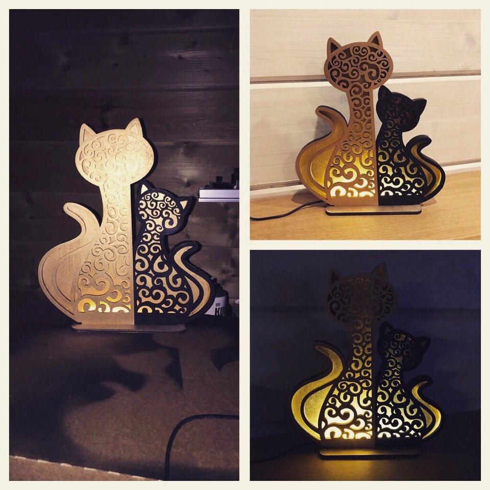 Laser Cut Cat And Kitten Night Light Lamp Home Decor Free Vector
