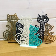 Laser Cut Cat And Kitten Night Light Lamp Home Decor Free Vector