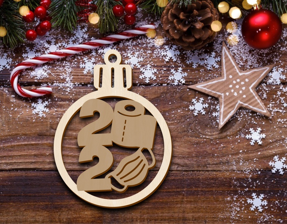 Laser Cut Christmas Ornament Tree Decoration With Mask Free Vector