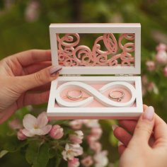 Laser Cut Wedding Ring Box Couple Ring Box Free Vector