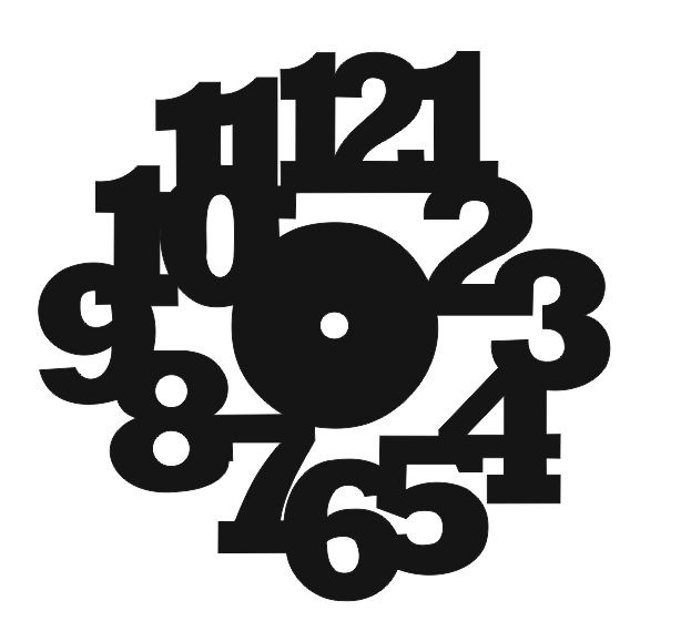 Laser Cut Large Bold Numbers Wall Clock Free Vector