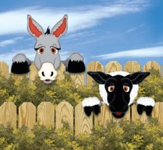 Laser Cut Donkey & Sheep Fence Peekers Fence Art Free Vector