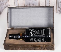Laser Cut Engraved Jack Daniels Whiskey Wooden Box Free Vector