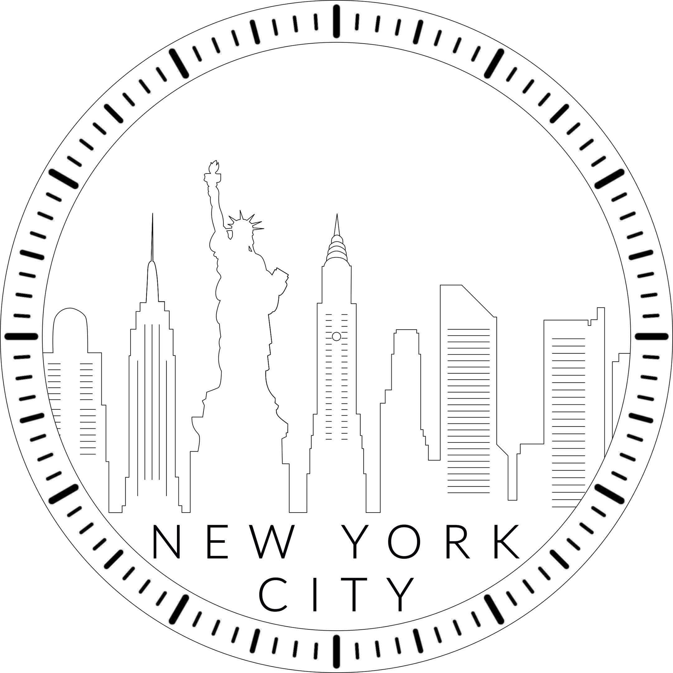 Laser Cut New York Skyline Wall Clock Template Free Vector